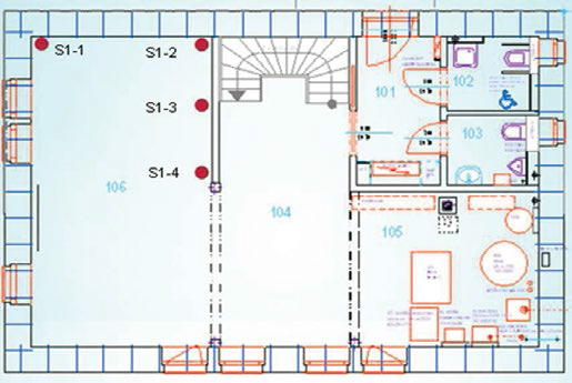 Floor plan location of temperature