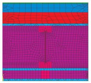 Numerický model typu PLANE55 obvodová stěna (detail1)