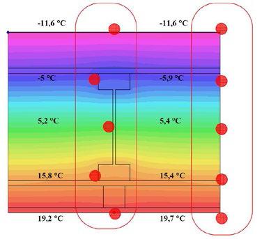 Výsledky řešení teplotního pole v detailu 1 v programu AREA